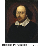 #27002 Stock Photo Of Painted Color Portrait Of William Shakespeare The Playwright And Poet In The Chandos Portrait
