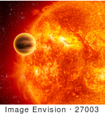 #27003 Stock Photography Of A Yellow Dwarf Planet Hd 189733 Orbiting The Feiry Gas Giant Planet Known As Hd 189733 B In The Constellation Vulpecula