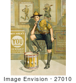 #27010 Stock Photography Of A Vintage World War I Poster Showing A Young Man In Uniform Resting One Leg On A Drum In Front Of A Wall Displaying Enlistment Posters By The Parliamentary Recruiting Committee