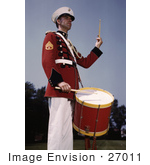 #27011 Stock Photography Of A Male Marine Drummer In A Red Black And White Uniform