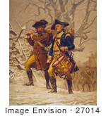 #27014 Stock Photography Of Two Marching Continental Army Color Guard Soldiers Men Marching Through The Snow In The Winter Playing A Fife And A Drum