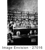 #27016 Stock Photography Of A Group Of 5 Young Men Seated At A Table And Hand Painting Jars And Pottery In The Workshop Of The Dome Of The Rock Via Dolorosa Jerusalem