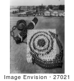 #27021 Stock Photography Of A Living Pattern Made Of A Crowd Of People Forming An Anchor And Target At The US Naval Rifle Range Camp Logan Illinois Between 1917 And 1918