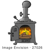 #27026 Wood Burning Inside A Stove Clipart Picture