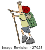 #27028 Physically Fit Man Pointing While Hiking And Carrying Gear On His Back Clipart Picture by DJArt