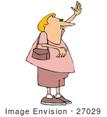 #27029 Gay Man With Blond Hair Wearing A Pink Shirt, Shorts And Shoes, Standing With A Purse Over His Shoulder And Hailing A Taxi Cab Clipart Picture by DJArt