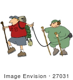 #27031 Man Talking His Chubby Wife On A Hike To Help Get Her Into Shape Clipart Picture