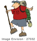 #27032 Man Carrying Hiking Gear And Using A Hiking Stick While Hiking Clipart Picture