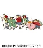 #27034 Group Of People Taking A Strenuous Hike Outdoors Some Struggling And Falling Behind Clipart Picture