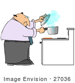 #27036 Man Lifting A Pot Off Of A Burner To Try To Stop A Boil Over While Cooking Clipart Picture by DJArt