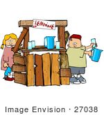 #27038 Brother And Sister Mixing And Selling Lemonade To Thirsty People Passing By Clipart Picture by DJArt