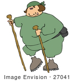 #27041 Fat Woman In Green Sweats Wearing A Fanny Pack And Holding Onto Two Hiking Sticks While Being A Good Sport About Getting Exercise Clipart Picture