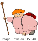 #27043 Fat Woman In Pink Sweats Kneeling While Out Of Breath During A Hike Clipart Picture