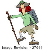 #27044 Woman Carrying Camping Gear On Her Back And Using A Stick While Hiking Clipart Picture