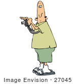 #27045 Bald Man Wearing Green, Taking A Picture With A Camera Clipart Picture by DJArt