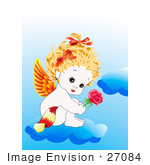 #27084 Sweet And Adorable Female Baby Baby Angel With Orange And Red Wings Her Blond Hair Up In Bows Sitting Nude On A Cloud And Holding A Red Rose Stock Photograph