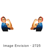 #2725 Picture of Two Rosie the Riveters Flexing Their Muscles by JVPD