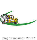 #27377 Clip Art Graphic Of A Yellow Lawn Mower Mascot Character Facing Forward Chewing On A Blade Of Grass With A Green Dash On A Logo