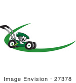 #27378 Clip Art Graphic Of A Green Lawn Mower Mascot Character Chewing On A Blade Of Grass And Passing By On A Green Dash On A Logo