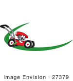 #27379 Clip Art Graphic Of A Red Lawn Mower Mascot Character Chewing On A Blade Of Grass And Passing By On A Green Dash On A Logo by toons4biz