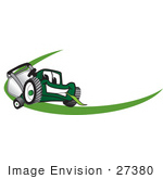 #27380 Clip Art Graphic Of A Green Lawn Mower Mascot Character Chewing On A Blade Of Grass With A Green Dash On A Logo