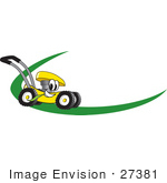 #27381 Clip Art Graphic Of A Yellow Lawn Mower Mascot Character Chewing On A Blade Of Grass And Passing By On A Green Dash On A Logo