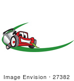 #27382 Clip Art Graphic Of A Red Lawn Mower Mascot Character Facing Forward Chewing On A Blade Of Grass With A Green Dash On A Logo
