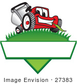 #27383 Clip Art Graphic Of A Red Lawn Mower Mascot Character Facing Front And Chewing On A Blade Of Grass On Top Of A Grassy Hill In The Shape Of A Triangle With A Blank Label On A Logo