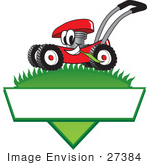 #27384 Clip Art Graphic Of A Red Lawn Mower Mascot Character In Profile Glancing As It Speeds Past While Chewing On A Blade Of Grass On Top Of A Grassy Hill In The Shape Of A Triangle With A Blank Label On A Logo