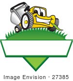 #27385 Clip Art Graphic Of A Yellow Lawn Mower Mascot Character Facing Front And Chewing On A Blade Of Grass On Top Of A Grassy Hill In The Shape Of A Triangle With A Blank Label On A Logo