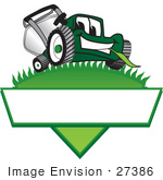 #27386 Clip Art Graphic Of A Green Lawn Mower Mascot Character Facing Front And Chewing On A Blade Of Grass On Top Of A Grassy Hill In The Shape Of A Triangle With A Blank Label On A Logo