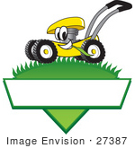 #27387 Clip Art Graphic Of A Yellow Lawn Mower Mascot Character In Profile Glancing As It Speeds Past While Chewing On A Blade Of Grass On Top Of A Grassy Hill In The Shape Of A Triangle With A Blank Label On A Logo