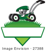 #27388 Clip Art Graphic Of A Green Lawn Mower Mascot Character In Profile Glancing As It Speeds Past While Chewing On A Blade Of Grass On Top Of A Grassy Hill In The Shape Of A Triangle With A Blank Label On A Logo