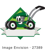 #27389 Clip Art Graphic Of A Green Lawn Mower Mascot Character In Profile On A White Banner Logo