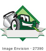 #27390 Clip Art Graphic Of A Green Lawn Mower Mascot Character Facing Front Of A White Banner Logo