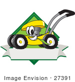 #27391 Clip Art Graphic Of A Yellow Lawn Mower Mascot Character In Profile On A White Banner Logo