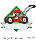 #27392 Clip Art Graphic Of A Red Lawn Mower Mascot Character In Profile On A White Banner Logo
