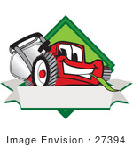 #27394 Clip Art Graphic Of A Red Lawn Mower Mascot Character Facing Front Of A White Banner Logo