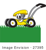 #27395 Clip Art Graphic Of A Yellow Lawn Mower Mascot Character Chewing On Grass And Mowing A Lawn