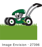 #27396 Clip Art Graphic Of A Green Lawn Mower Mascot Character Chewing On Grass And Mowing A Lawn