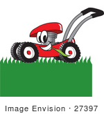 #27397 Clip Art Graphic Of A Red Lawn Mower Mascot Character Chewing On Grass And Mowing A Lawn