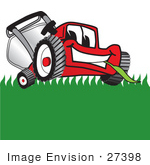 #27398 Clip Art Graphic Of A Red Lawn Mower Mascot Character Facing Front And Eating A Blade Of Grass While Mowing A Lawn