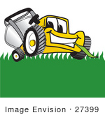 #27399 Clip Art Graphic Of A Yellow Lawn Mower Mascot Character Facing Front And Eating A Blade Of Grass While Mowing A Lawn