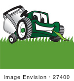 #27400 Clip Art Graphic Of A Green Lawn Mower Mascot Character Facing Front And Eating A Blade Of Grass While Mowing A Lawn