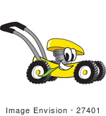 #27401 Clip Art Graphic Of A Yellow Lawn Mower Mascot Character Glancing While Passing By And Chewing On A Blade Of Grass