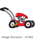 #27402 Clip Art Graphic Of A Red Lawn Mower Mascot Character Glancing While Passing By And Chewing On A Blade Of Grass