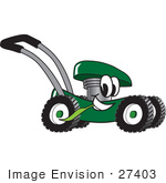 #27403 Clip Art Graphic Of A Green Lawn Mower Mascot Character Glancing While Passing By And Chewing On A Blade Of Grass