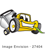 #27404 Clip Art Graphic Of A Yellow Lawn Mower Mascot Character Smiling While Chewing On A Blade Of Grass