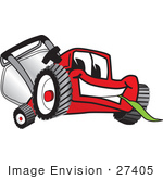 #27405 Clip Art Graphic Of A Red Lawn Mower Mascot Character Smiling While Chewing On A Blade Of Grass