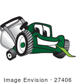 #27406 Clip Art Graphic Of A Green Lawn Mower Mascot Character Smiling While Chewing On A Blade Of Grass